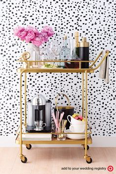 Whether you're brewing lattes or serving happy hour for two, a bar cart keeps the drinks ready whenever you are. Plus, it makes for a stunning display that's great for hosting parties. Add it all to your wedding registry to keep the sipping strong, day or night.