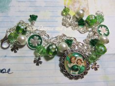 Saint Patrick's Day  Handmade by ME, ONE OF a KIND~  CHARM BRACELET
