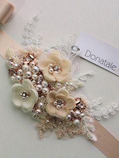 Bridal Sash Wedding Sash in Champagne Bridal Belt Rose #GoldJewelleryWedding