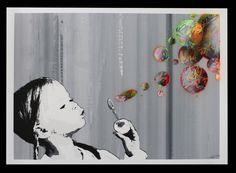 """Painting Game"" by Kurar. 50 x 70cm Screenprint, hand-finished. Ed of 52 S/N."