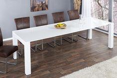 Ausziehbarer Design Esstisch X7 weiß Hochglanz 180 - 270 cm | Riess Ambiente Onlineshop