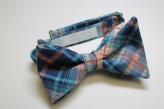 cotton bow tie navy orange blue plaid