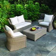Kingsley-Bate Sag Harbor deep seating in driftwood with cushions in Canvas #5453