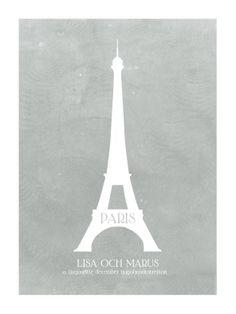 Ett specialbeställt bröllopstryck till ett brudpar som ska gifta sig i Paris.  Personalized wedding print - Paris