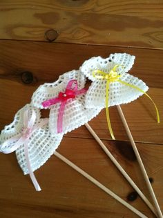 Baby Shower Centerpiece Crochet Dress Favor Picks
