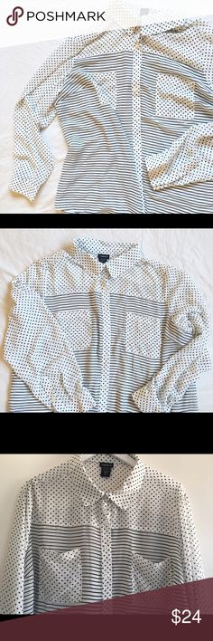 Torrid2 polka dot striped button up NWOT Torrid2 polka dot striped button up NWOT. Polyester. Super cute ! I love this style. See through. torrid Tops Blouses