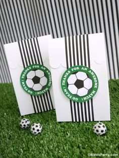 Soccer football birthday party ideas for boys or girls! Lots of creative DIY decorations, party printables, food and fun favors ideas! Soccer Party Favors, Soccer Birthday Parties, Birthday Party Desserts, Football Birthday, Football Soccer, Soccer Banquet, Party Kit, Party Bags, Party Ideas