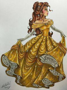 Belle - Disney Princess Drawings by Max Stephen
