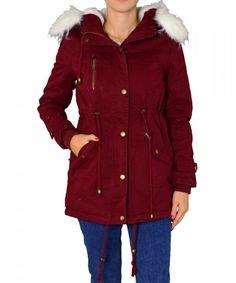 Γυναικείο παρκά με γούνα και κουκούλα μπορντό D230F   χειμωνιατικαμπουφανγυναικεια Parka 0d294aa8b33