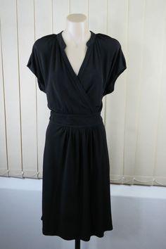 Size L 14 Basque Ladies Black Dress Business Work Office Stretch Gothic Design