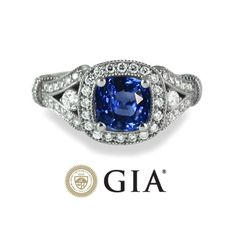 GIA 4.02 ct Blue Sapphire and Diamond Ring by AMatter1 on Etsy, $7980.00
