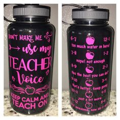 Dont Make me use my TEACHER Voice water bottle - work out motivational intake tracker keep calm teach on by CraftyLittleBug on Etsy