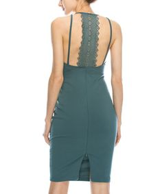 Another great find on #zulily! Dusty Slate Lace-Trim Cutout Bodycon Dress #zulilyfinds