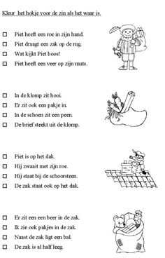 Werkblad: Kleur het hokje voor de zin als het waar is (taal) Speech Language Therapy, Speech And Language, Learning Support, Kids Learning, Saint Nicolas, Craft Activities For Kids, A Blessing, Primary School, Kids Education