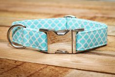 Dog Collar in Turquoise and Ivory Honeycomb with by ZaleyDesigns, $25.00