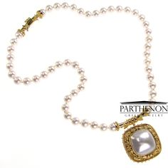 http://www.parthenon-greekjewelry.com Flowers and Pearls 18k Gold Byzantine Necklace with Pendant