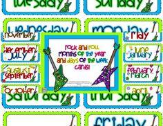 Rock and roll themed days and months cards! Kindergarten Smorgasboard, Kindergarten Freebies, Kindergarten Rocks, Classroom Calendar, Classroom Themes, Beginning Of School, Back To School, Van Wert, Days And Months