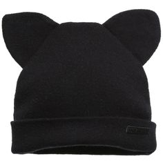Little Eleven Paris Black Knitted Hat with Ears at Childrensalon.com