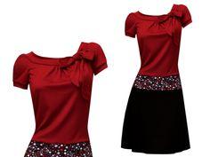 Entdecke lässige und festliche Kleider: Sommerkleid Elise dunkelrot/ schwarz geblümt made by ungiko via DaWanda.com