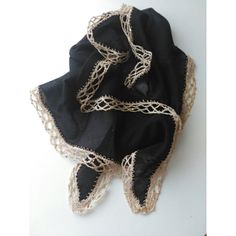 Black Cotton Scarf With Handwork Crochet Trim Scarf Authentic and... (€23) ❤ liked on Polyvore featuring accessories, scarves, integritytt, cotton scarves and cotton shawl