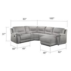 Living Room Furniture   Pasadena 5 Piece Right Facing Reclining Sectional  W/ Console