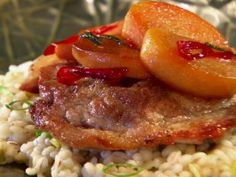 Pork Loin Cutlet with Sauteed Persimmons and Barley Risotto : Recipes : Cooking Channel