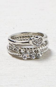 Silver AEO Bow & Heart Midi Ring Set