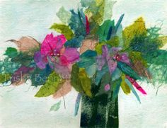 Abstract Flower Print, Floral Collage in Aqua and Pink, Acrylic and Tissue Paper Art for Room Decor. 11 x 14 Wall Decor