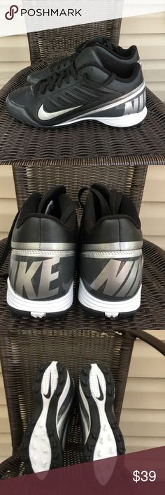 Nike landshark mens football cleats NWOT Very nice cleats no defects , never worn , black with gray and silver trim Nike Shoes Athletic Shoes