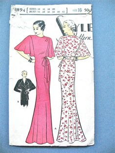 1930s Negligee Vintage Sewing Pattern by Style 3894  door Fancywork