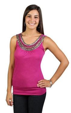 banded bottom tank with stud and jewel neckline