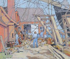 """""""At the Dry Dock, Gloucester, MA,"""" Eleanor Parke Custis, ca.1924, gouache on paper, 12 x 14"""", The Caldwell Gallery."""