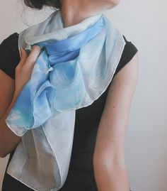Hand painted silk shawl hand painted silk scarf | handpainted | azure and white | minimalist fashion | pastel palette | pastel colors | summer scarf | summer fashion | fashion accessories | light scarf | square scarf | abstract art | foulard |