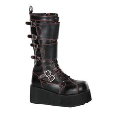 Gothic Platform Buckle Boots by Demonia. Black lace-up Demonia platform boots with straps and buckles. Mens Shoes Boots, Biker Boots, Buckle Boots, Calf Boots, Shoes Heels Boots, Knee Boots, Heeled Boots, Combat Boots, Gothic Boots