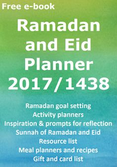 Assalam-alaikam, I have just published the updated Ramadan and Eid Planner for 2017 (or 1437 in the Islamic calendar). The Planner i. 2017 Planner, Meal Planner, Goal Setting Activities, Ramadan Recipes, Food Gifts, Lessons Learned, Eid, Islamic, Calendar