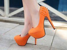 Orange studded heels