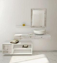 Meubles de salle de bain minimaliste minable gris clair accent rustique tanné console de lavage de regard