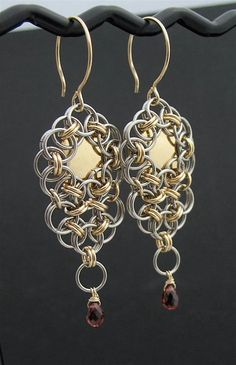 Red Garnet Gemstone Chainmaille Long Dangle Earrings, 14k Goldfill, Stainless Steel-- like the solid disk