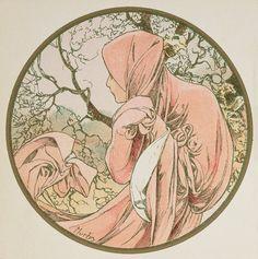 ❤ - Alphonse Mucha   The Months - January, 1899.