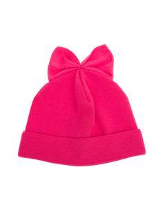 """Schurwoll-Mütze mit Schleife Extravagante Hut-Designs made in Italy – das ist Federicamoretti!  Pinkfarbene Feinstrickmütze aus reiner Schurwolle mit Schleife und kleinem Label-Patch.  Die Mütze aus der """"Blu""""-Kollektion ist ein süßes Accessoire für kalte Tage..."""
