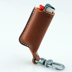 Brown Leather Lighter Pouch with Loop