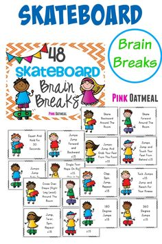 Brain Breaks With A Skateboard Theme - Brain breaks are a must for kiddos! The skateboard theme is a fun way to get the kids moving!