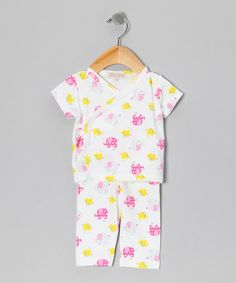 Take a look at this White & Pink Elephant Brett Wrap Top & Pants - Infant by Pippen Lane on #zulily today!