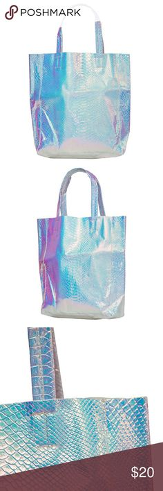 Laser Hologram Serpentine Tote Material:PVC Size:18.5 * 11.8 inch Bags Totes