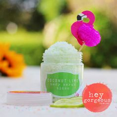 Our Coconut Lime Body Scrub will polish off impurities, rough dry skin and old skin cells and leave your skin silky smooth, soft and blemish free.