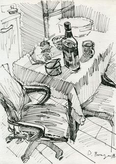 Home sketches Ink drawing by Dima Braga Sketchbook Drawings, Ink Drawings, Drawing Sketches, Sketching, Landscape Sketch, Landscape Drawings, How To Draw Stairs, Architecture Design Concept, Sketch Architecture