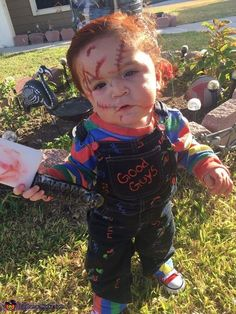 Samantha Made my 14 month old a chucky costume. I bought a blue and white striped shirt and filled in the white stripes with red green and yellow.  sc 1 st  Pinterest & Awesome Chucky Costume for a 2 Year Old Boy | Pinterest | Chucky ...