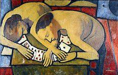Felice Casorati, (Novara, 1883-Turín, 1963) fue un pintor italiano influido en una primera etapa por los simbolistas. Donne chine sulle carte da gioco.1954