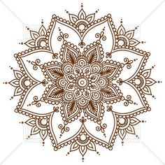 Brown round floral mandala, download royalty-free vector clipart (EPS)