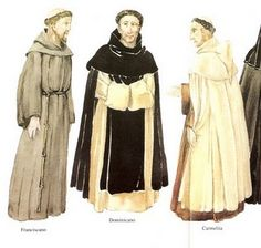 The monks of the middle ages lead very simple lives as they do today. They did not have as much money as the secular part of the clergy did, so they wore just black, white, or brown hooded robes with a belt tied around the waist.